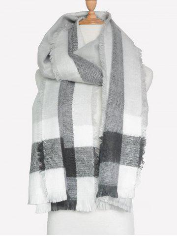 Outfits Outdoor Check Pattern Fringed Shawl Scarf