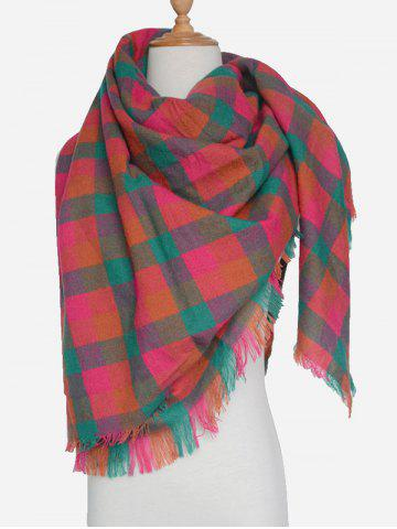Fashion Outdoor Plaid Pattern Fringed Shawl Scarf