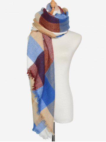 Sale Outdoor Big Plaid Pattern Fringed Square Scarf ROYAL BLUE