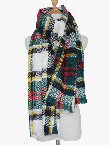 Online Winter Plaid Print Woven Fringed Scarf BLACKISH GREEN