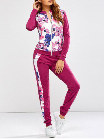 Chic Floral Print Jacket Jogger Pants Sports Suits - XL PURPLISH RED Mobile