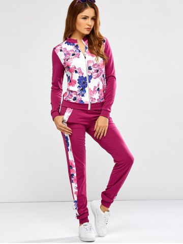 Trendy Floral Print Jacket Jogger Pants Sports Suits - XL PURPLISH RED Mobile
