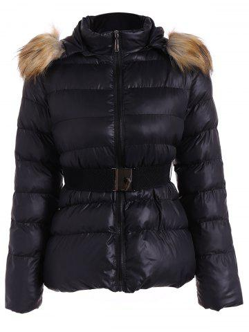 Trendy Belted Furry Hooded Winter Puffer Jacket BLACK 3XL