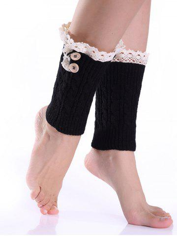 Lace Button Cable Knit Boot Cuffs - Black