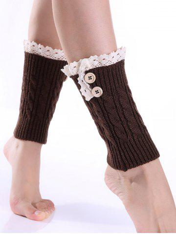 Outfits Lace Button Cable Knit Boot Cuffs COFFEE
