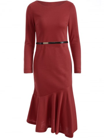 Trendy Slim Fit Long Sleeve Fishtail Bodycon Dress WINE RED M