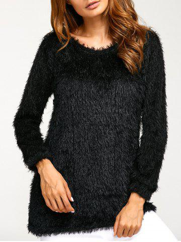 Discount Asymmetric Pullover Mohair Sweater BLACK XL