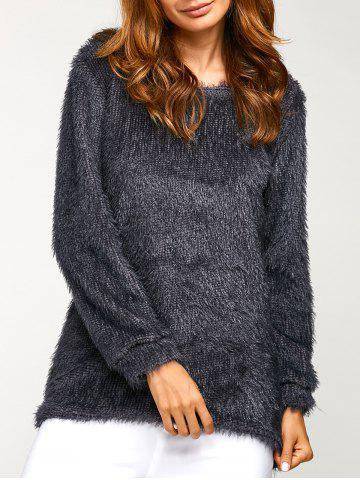 Trendy Asymmetric Pullover Mohair Sweater DEEP GRAY M