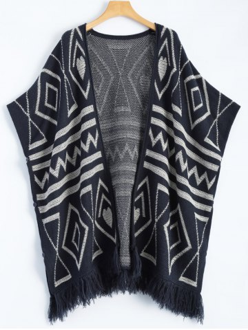 Online Geometric Knit Cape PURPLISH BLUE ONE SIZE