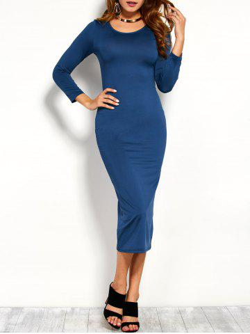 Discount Long Sleeve Bodycon Midi Dress BLUE 2XL