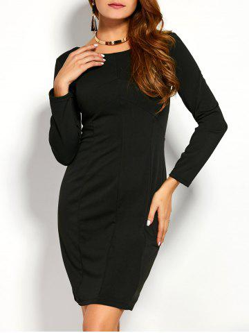 Trendy Back Zipper Long Sleeve Fitted Dress BLACK L