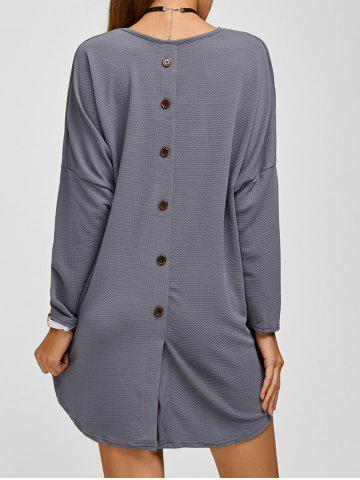 Chic Drop Shoulder Buttoned Textured Dress