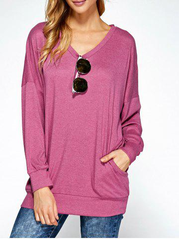 Sale Drop Shoulder Pocket Design Hoodie PINK XL