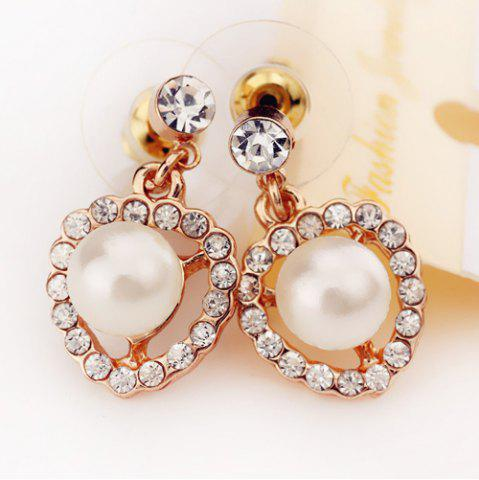 Fashion Faux Pearl Rhinestoned Heart Earrings