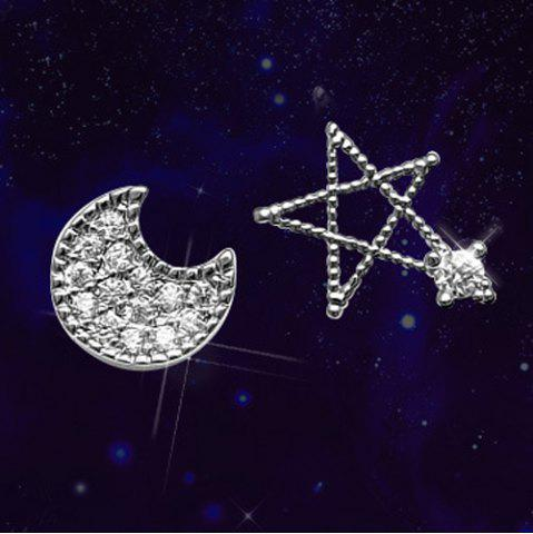 Shops Rhinestone Star Moon Asymmetric Stud Earrings
