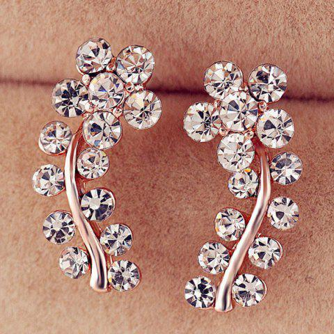 Chic Rhinestoned Flower Leaf Earrings