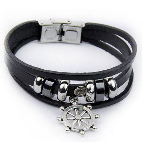 Fashion Artificial Leather Rudder Strand Bracelet BLACK