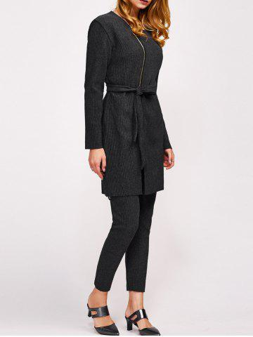 Online Ribbed Ninth Pants and Belted Zipper Coat
