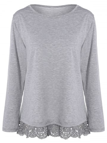 Online Lace Trim Long Sleeve T-Shirt GRAY XL