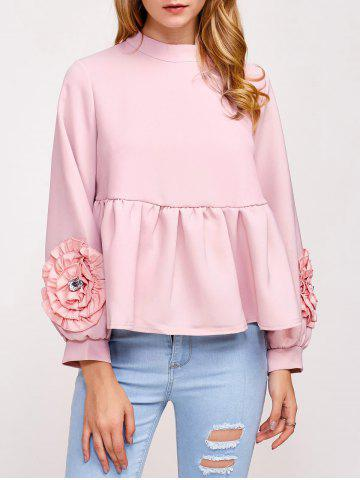 Online Flower Embellished Puff Sleeve Blouse
