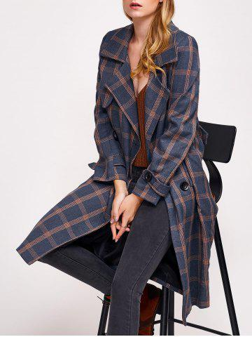Hot Lapel Double Breasted Plaid Coat