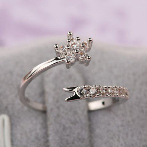 Cheap Rhinestone Flower Cuff Ring