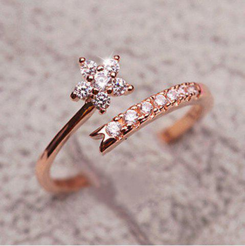 Chic Rhinestone Flower Cuff Ring - ONE-SIZE ROSE GOLD Mobile
