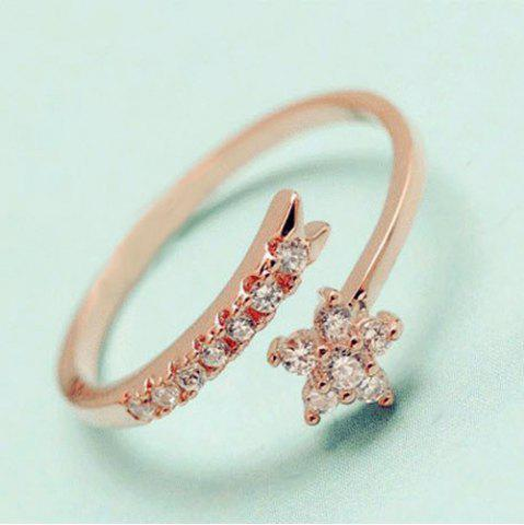 Store Rhinestone Flower Cuff Ring - ONE-SIZE ROSE GOLD Mobile