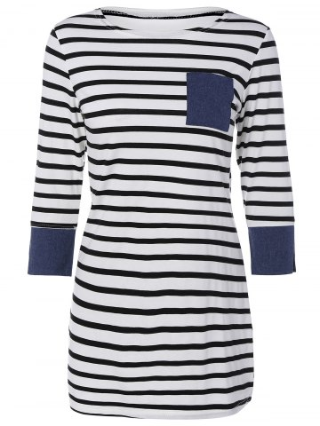Trendy Mini Striped Tee Dress with Sleeves STRIP PATTERN XL