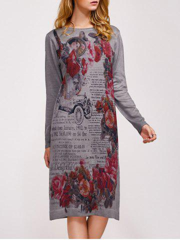 Sale Vintage Flower Print Sweater Dress