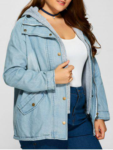 Plus Size Hooded Button Up Denim Coat - Cloudy - Xl