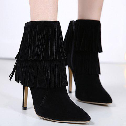 Unique Multi Fringe Stiletto Heel Boots