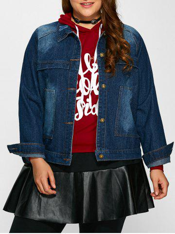 Online Plus Size Pocket Design Jean Jacket