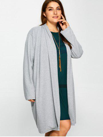 Trendy Plus Size Collarless Casual Loose Coat - 3XL GRAY Mobile