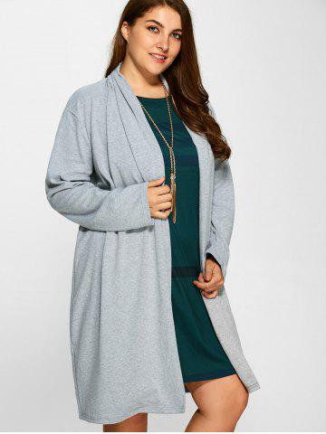Fancy Plus Size Collarless Casual Loose Coat - 3XL GRAY Mobile