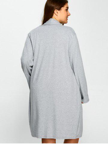 Outfit Plus Size Collarless Casual Loose Coat - 3XL GRAY Mobile