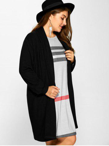 Chic Plus Size Collarless Casual Loose Coat - 5XL BLACK Mobile