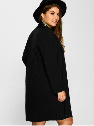 Fashion Plus Size Collarless Casual Loose Coat - 3XL BLACK Mobile