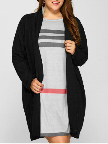 Chic Plus Size Collarless Casual Loose Coat - 3XL BLACK Mobile