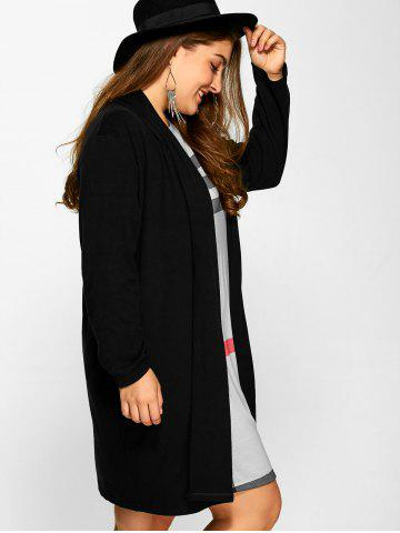 Fancy Plus Size Collarless Casual Loose Coat - 3XL BLACK Mobile