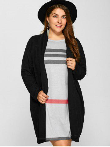Discount Plus Size Collarless Casual Loose Coat - 3XL BLACK Mobile
