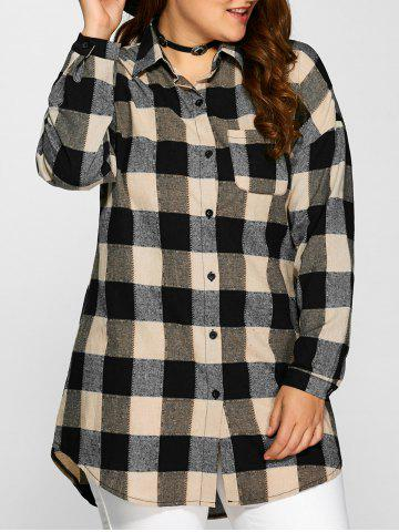 Fancy Plus Size Plaid Long Shirt DARK KHAKI 5XL