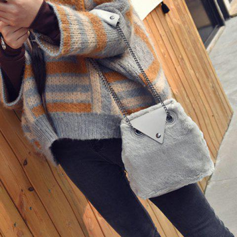 Outfits Chains Fuzzy Shoulder Bag GRAY