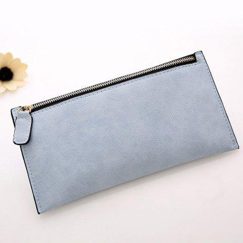 Outfits PU Leather Zip Up Coin Purse - BLUE GRAY  Mobile