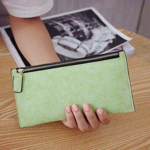Outfits PU Leather Zip Up Coin Purse - LIGHT GREEN  Mobile