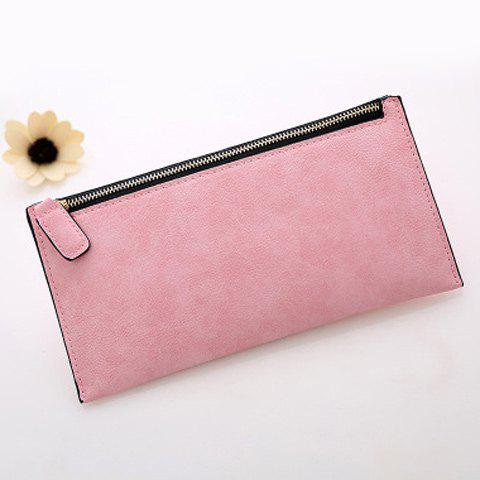 New PU Leather Zip Up Coin Purse - PINK  Mobile