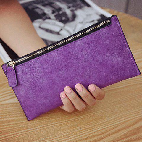 Cheap PU Leather Zip Up Coin Purse - PURPLE  Mobile