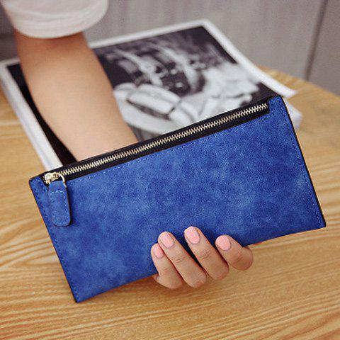 Sale PU Leather Zip Up Coin Purse - BLUE  Mobile
