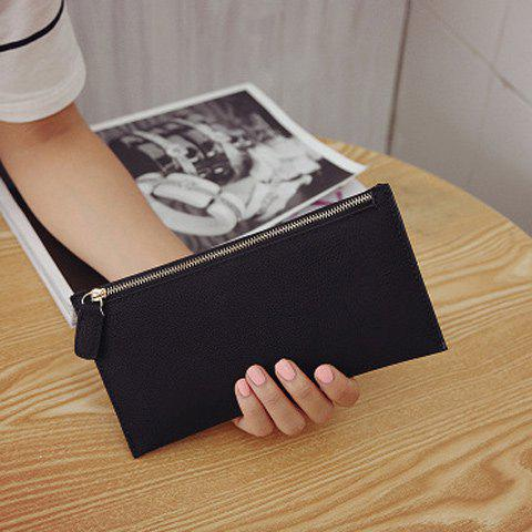 Chic PU Leather Zip Up Coin Purse - BLACK  Mobile