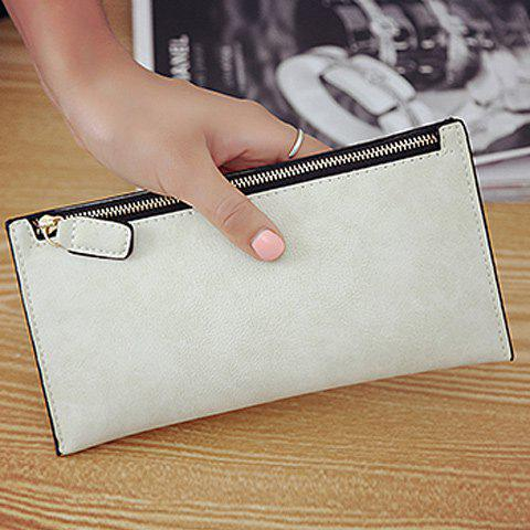 Discount PU Leather Zip Up Coin Purse - OFF-WHITE  Mobile